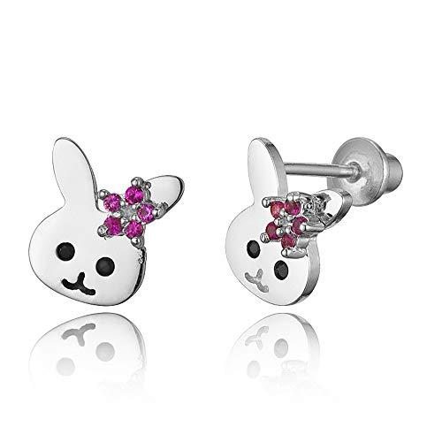 (925 Sterling Silver Rhodium Plated Rabbit Cubic Zirconia Screwback Baby Girls Earrings)
