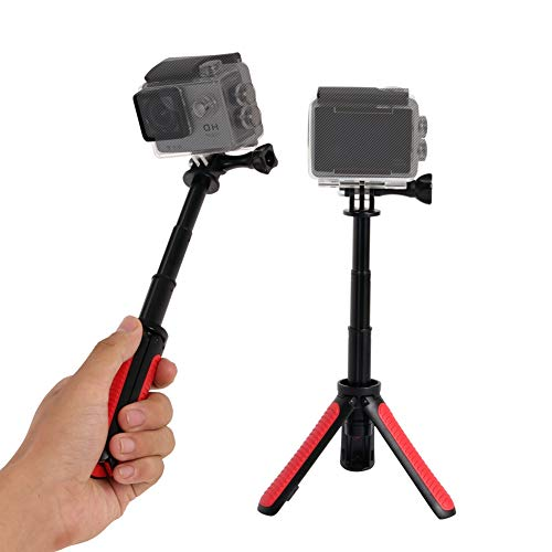 Selfie Stick Extendable Tripod for Gopro,SHIHONG Mini Telescopic Handheld Pole Monopod for Gopro Shorty GeekPro/GoPro HD Hero 6 5 4 3+ 3 2 1,SJCAM SJ4000 SJ5000 and Most Action Camera(Red)