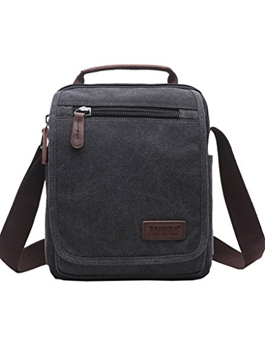 Mygreen Unisex Black Small Canvas Vertical Shoulder Messenger Bag Crossbody Business Leather Bag Satchel for (Side Zip Satchel)