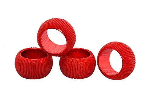 Alpha Living Home Handicraft Classical Beaded Napkin Rings Set of 4 - Red Beaded Napkin Holders, 2 Inch, Hand Made by Skilled artisans - A Joyful complement to Your Dinner Table and Their Accessories ()