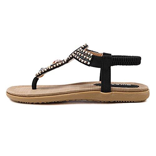 Btrada Femmes Bohème Sandales Plates Sandales De Plage T-strap Noir