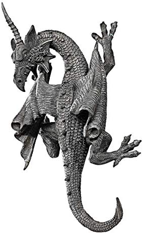 Design Toscano Horned Dragon of Devonshire Wall Sculpture, 13 Inch, Polyresin, Grey Stone