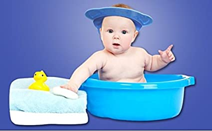 574d0cd311a Image Unavailable. Image not available for. Color  king s store Safe  Shampoo Shower Bathing Protect Soft Cap Hat for Baby ...