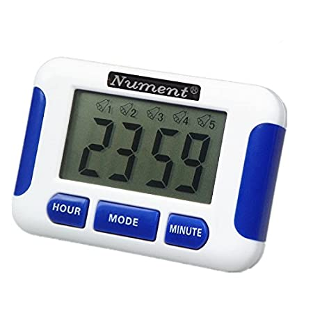 Nument 5 times Alarm style Timer with Clock for study Work