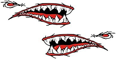 MagiDeal 2pcs Shark Mouth Vinyl Decal Stickers for Kayak Canoe Dinghy Boat