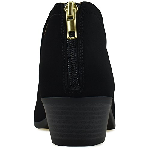 Premier Side Closed Ankle Toe Panel Walking Comfortable Low Black Casual Elastic Women's Bootie – Boot Heel Shoe Nb Standard 8wqtx8rzS