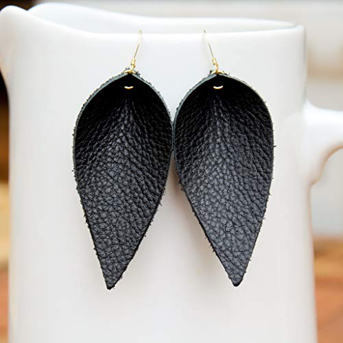 Black Genuine Leather Leaf Earrings // Gold Plated Ear Wires // Joanna Gaines Inspired