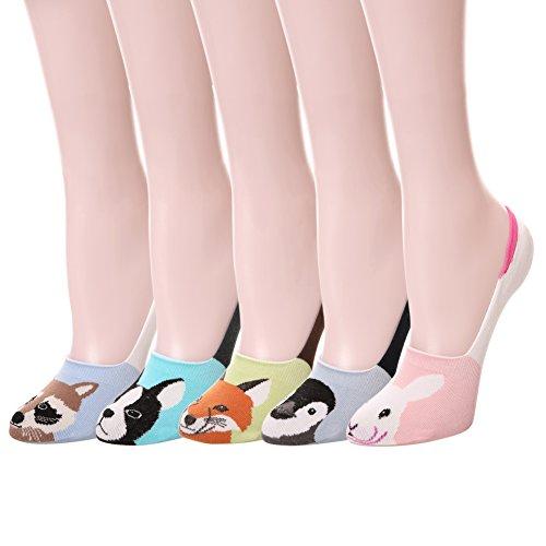 Color City Womens Novelty Cute Funny Ankle Socks - Cartoon Animal No Show Low Cut Socks