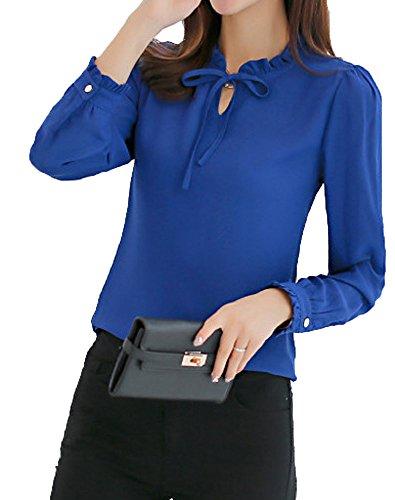 【Smile LaLa】 レディース ブラウス 長袖 リボン シフォン フォーマル フリル きれいめ ブラウス 4色 上 トップス ファッション