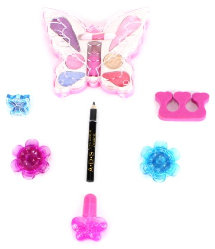Beauty Butterfly Pretend Play Toy Make Up Kit, Safety Tested, Non-Toxic, Washable, Formulated for Children]()