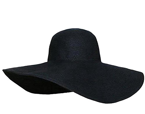 NYKKOLA Black Women's Ridge Wide Floppy Brim Summer Beach Sun Hat Straw Cap Party Garden Travel for Set of 1pcs