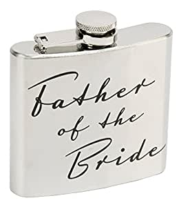 5oz Stainless Steel 'Father of the Bride' Hip Flask By Haysom Interiors