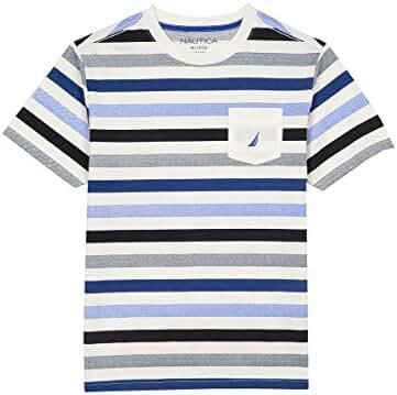 Nautica Boys' Short Sleeve Multi Color Stripe Crewneck Tee