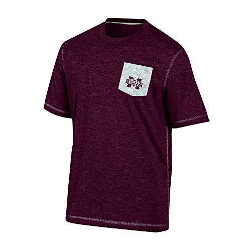 NCAA Mississippi State Bulldogs Adult Men Short Sleeve Crew Neck po, X-Large, Maroon Heather
