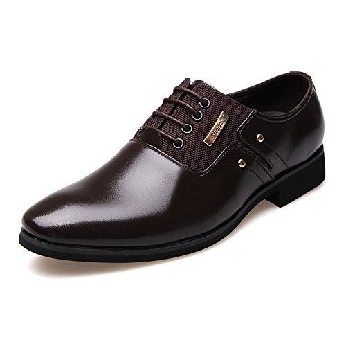 on BLK Lienzo PU 2018 Color Opcional con Zapatos Cuero Mate Hombre y shoes Zapatos 39 Oxfords Forrados Negocios de Cordones de Respirable Fang de Lace Lace EU Empalme Slip Brn Hombre Tamaño wq6xF5T