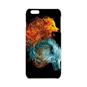 Custom Retro Deer Fantasy Fire Wolf Pattern Skin Case for iPhone 6 Plus 3d Case