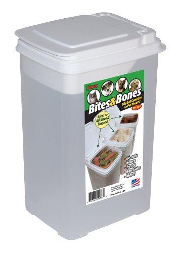 Buddeez Bites and Bones 3-1/2-Quart Flip Lid Canister for Treats and Chews, My Pet Supplies