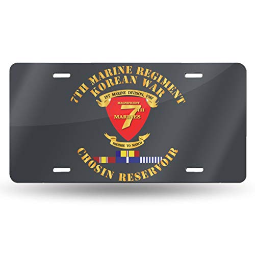(Oppo-ww 7th Marine REGT - Korea - Chosin W SVC Ribbons Retro License Plates for Car Decoration 6 Inch X 12 Inch)
