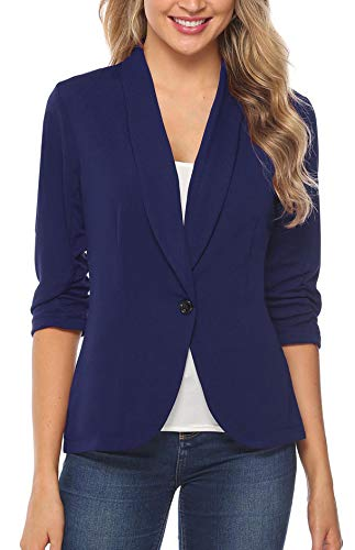 (iClosam Women Blazer Jacket 3/4 Ruched Sleeve Open Front Lightweight Work Office Cardigan Navy)