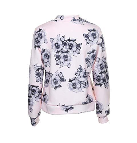 Moda Rosa Giacca Chic Giubbino Vintage Grazioso Ragazza Stampati Donna Stampa Giacche Primavera Sciolto Fiore Autunno Cappotto Di qRwaqH