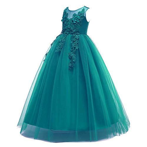 Flower Girls Embroidered Tulle Lace Long Wedding Bridesmaid Dress Floor Length Princess Pageant Birthday Party First Communion Dress A Line Formal Prom Long Maxi Evening Dance Ball Gown #Green 11-12 -