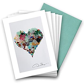 Amazon.com: Elegante Mar vidrio Corazón Nota Tarjetas. Love ...