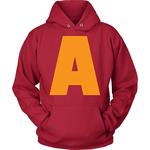 Cool Letter A for Alvin Costume Unisex Red -