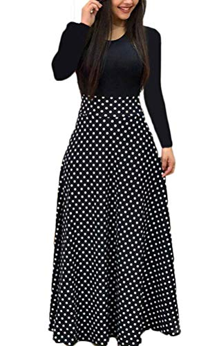 Uinolo Womens Long Sleeve Floral Printed Splicing Color Prom Cocktail Swing Long Maxi Dress (S, Long Polka Dot)