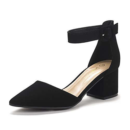 Dream Pairs Women's Annee Black Nubuck Low Heel Pump Shoes - 9 M US