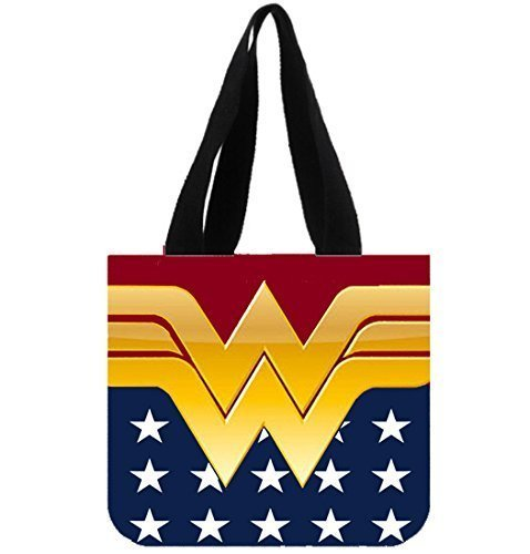 Angelinana Fashion Wonder Women Printed Canvas Girl And Women Shopping Bag Two Side Tote Bag