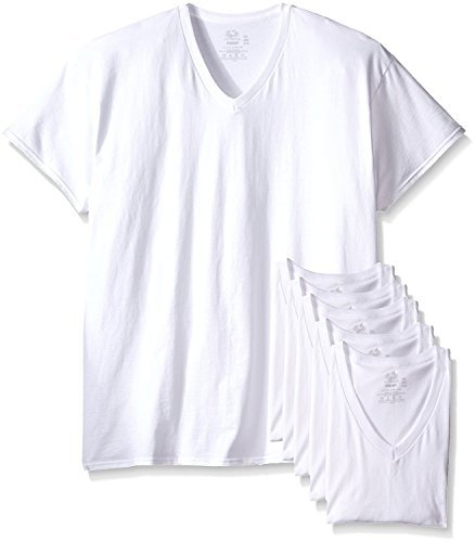 Fruit of the Loom Mens 6Pack Tall White V-Neck T-Shirts Undershirt L