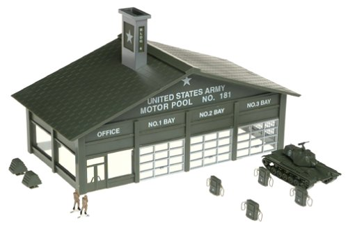 - HO B/U Army Motor Pool w/Tank, Lighted w/Figures