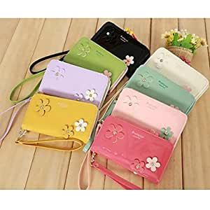 DD Shining Floret Wrist Strap Patent Leather PU Leather Mobile Phone Bag for iPhone 4G/4S/5S/5C/6 (Assorted Colors) , White