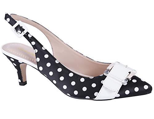 Greatonu Womens Dress Pumps Low Kitten Heels Slingback Buckle Sandals Closed Toe Shoes Black Polka Dot Size 10 US