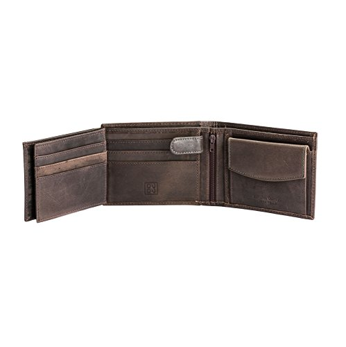 In DuDu Save Coin Brown Retro Dark Wallet For Cards Vintage Holder ID Genuine Leather Windows Closure Men x4Ipq4