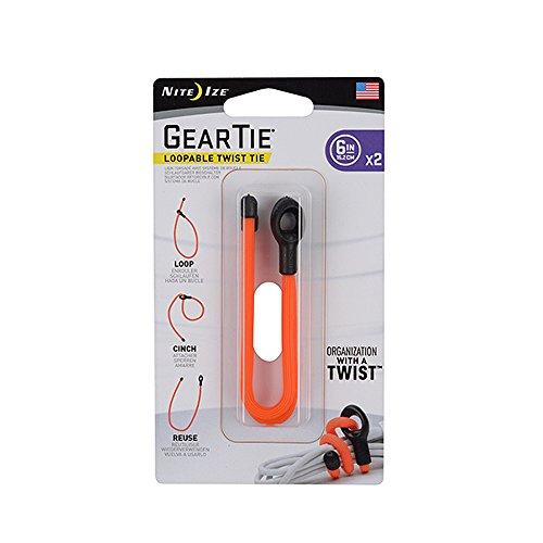 Nite Ize Gear Tie Loopable Twist Tie 6 in. 2 Pack Bright Ora