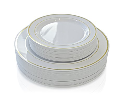 ''OCCASIONS'' 240 PACK Disposable Plastic Plates Set - 120 x 10.5'' Dinner + 120 x 7.5'' Salad ( White/ Gold Rim) by OCCASIONS FINEST PLASTIC TABLEWARE