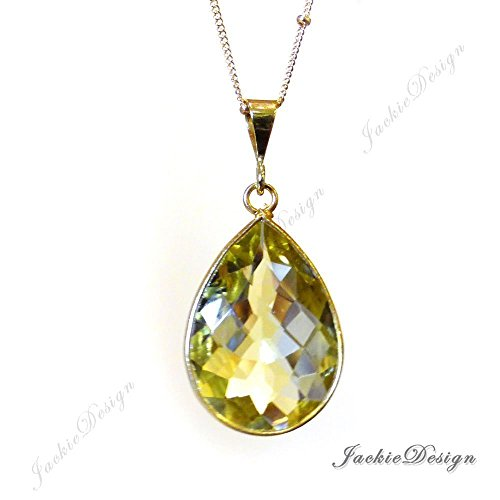 Lemon Quartz Yellow Tear Drop Pendant Gold Filled Necklace N01
