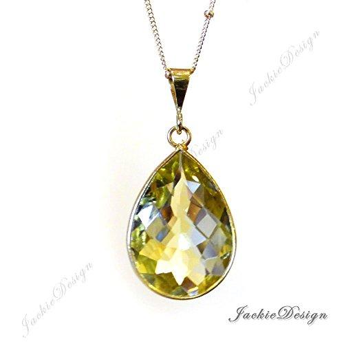Lemon Quartz Yellow Tear Drop Pendant Gold Filled Necklace N01 - Drop Quartz Lemon