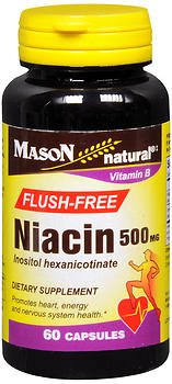 Mason Natural Flush-Free Niacin 500 mg - 60 Capsules, Pack of 5
