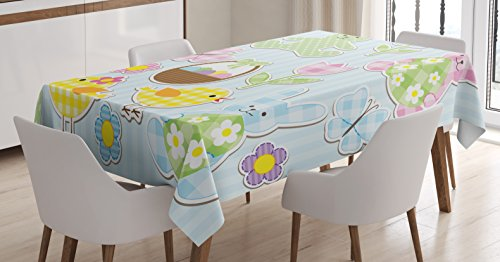 Ambesonne Easter Tablecloth, Nursery Theme Bunnies and Chicks with Giant Eggs Pastel Colored Holiday Illustration, Dining Room Kitchen Rectangular Table Cover, 60 W X 84 L Inches, Baby Blue