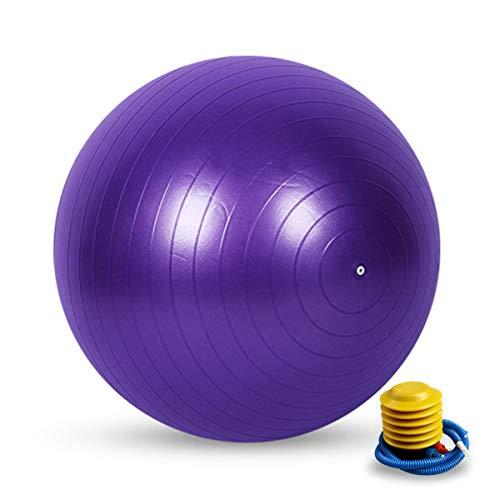 Pelotas de Ejercicio, Balon Pilates y Yoga Pelotas de Gimnasia y Fitness, Pelotas de Yoga y Pilates con Bomba para Yoga, Pilates, Embarazo, Gimnasia Domestica, Silla de Oficina, Purpura, 55cm