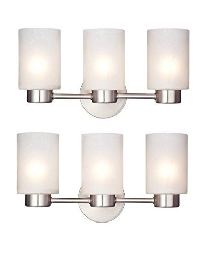 Westinghouse 6227900 Sylvestre Three-Light Interior Wall Fixture, Brushed Nickel Finish with Frosted Seeded Glass (2, Three-Light) by Westinghouse