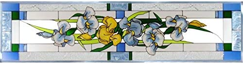 Silver Creek Iris Painted Glass Panel R-195