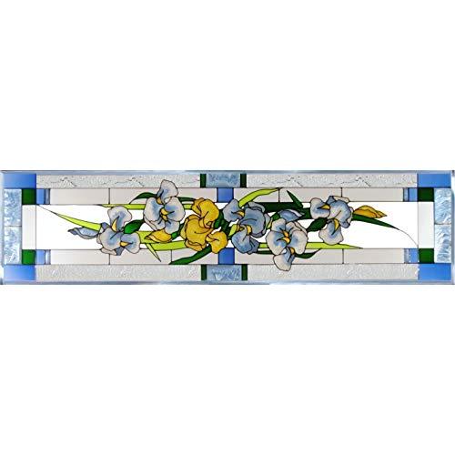 (Iris Painted Glass Panel R-195)