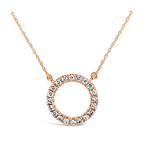 (Brilliant Expressions 10K Rose Gold 1/5 Cttw Conflict Free Diamond Circle Adjustable Pendant Necklace (I-J Color, I2-I3 Clarity), 16-18 inch)