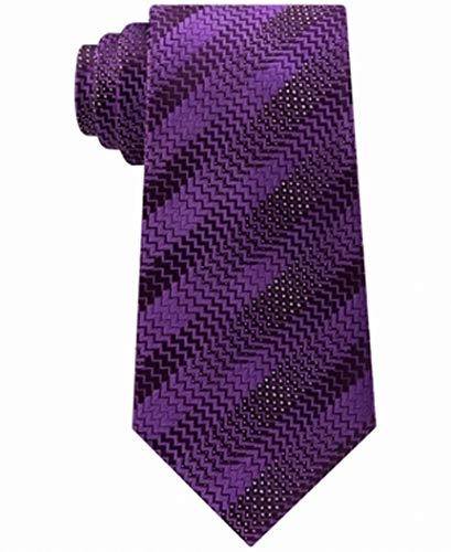 Sean John Herringbone Striped Men's Classic Neck Tie Silk Purple Not Applicable