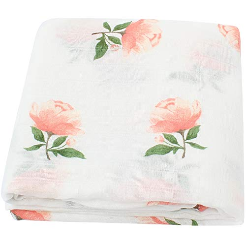 LifeTree Muslin Swaddle Blankets Girl, Floral Print Muslin Blankets Baby Shower Gifts, 47
