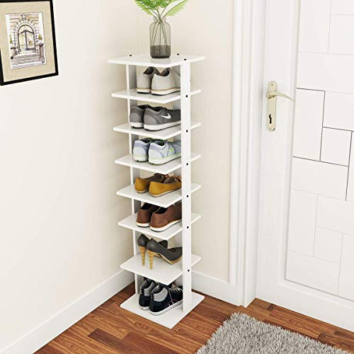 Tangkula Wooden Shoes Racks, Entryway Shoes Storage Stand, Modern 7 Tiers Shoe Rack Organizer, Multi-Shoe Rack Shoe Box, Storage Shelf (White, Single)