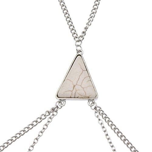 YNuth Cadena de Cuerpo Cadena de Cintura de Vientre con Turquesa en Forma Triangular Arnés de Collar para Mujeres blanco plateado